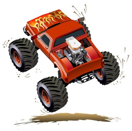 만화 몬스터 트럭. 가능한 EPS-10 클릭 한 번으로 다시 그리기에 대한 투명도 효과와 함께 그룹 및 레이어로 구분