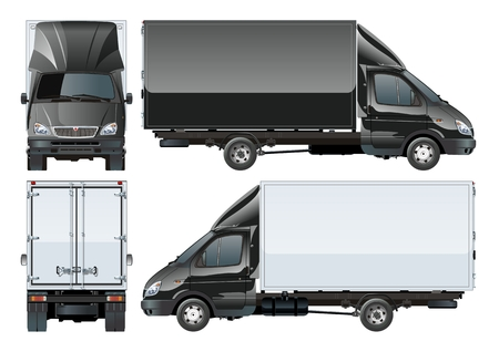 profile: Delivery cargo truck. Available EPS-10 separated by groups and layers with transparecy effects for one-click repaint