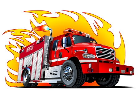 Vector cartoon firetruck. format vectoriel Disponible séparés par des groupes et des couches pour faciliter modifier Vecteurs