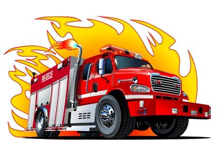 bombero de rojo: Vector de dibujos animados camión de bomberos. formato vectorial disponible separó por los grupos y las capas para facilitar la edición