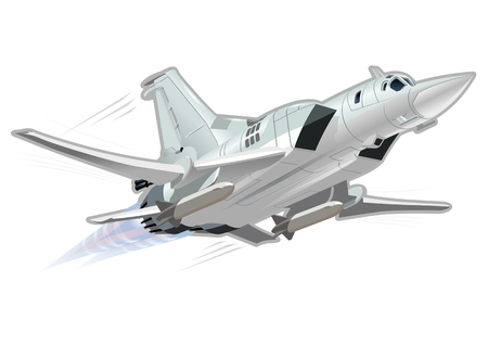 modern fighter: Vector Cartoon Bomber. Available EPS-10 vector format separated by groups and layers for easy edit