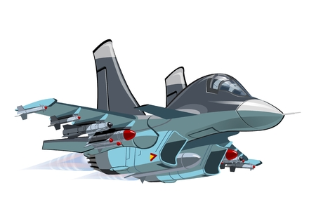 the air attack: Vector Cartoon Fighter - Bomber. Available EPS-10 vector format separated by groups and layers for easy edit