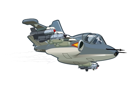 modern fighter: Vector Cartoon Attack Plane. Available EPS-10 vector format separated by groups and layers for easy edit Illustration