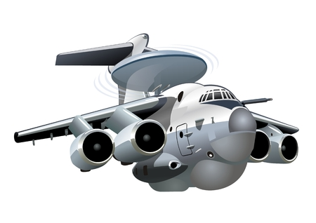 Vector Cartoon AWACS Plane. Available EPS-10 vector format separated by groups and layers for easy edit