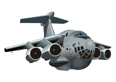 Vector Cartoon Military Cargo plane. Available vector format separated by groups and layers for easy edit