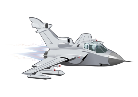 Vector Cartoon Fighter Plane. Available EPS-10 vector format separated by groups and layers for easy edit Vettoriali