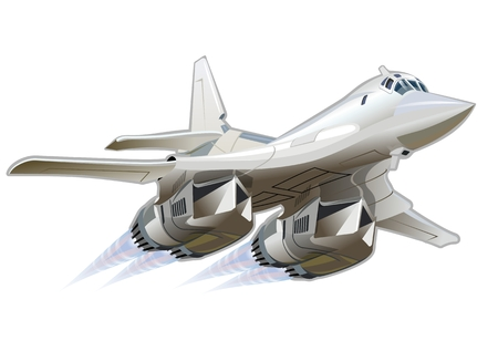 supersonic plane: Vector Cartoon Bomber. Available vector format separated by groups and layers for easy edit