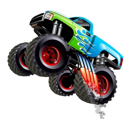 Caminhão de monstro dos desenhos animados. Disponível separado por grupos e camadas com efeitos de transparência para repintar com um clique Ilustración de vector