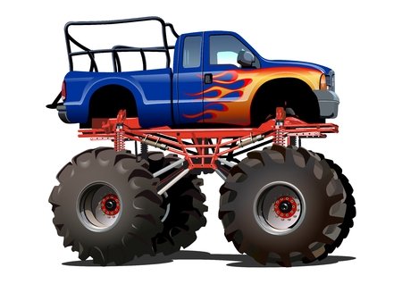 monsters: Cartoon Monster Truck. Available EPS-10 separated by groups and layers with transparency effects for one-click repaint