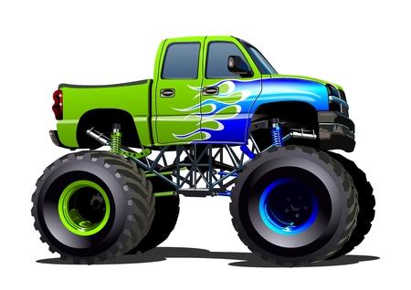 Cartoon Monster Truck. Dostępne EPS-10 oddzielonych grup i warstw z efektami przezroczystości za jedno kliknięcie przemalować Ilustracje wektorowe