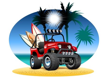 cartoon 4x4 car on beach.