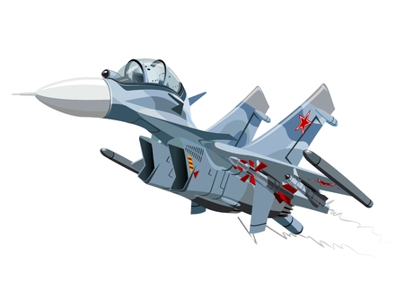 the air attack: Cartoon Fighter Plane.