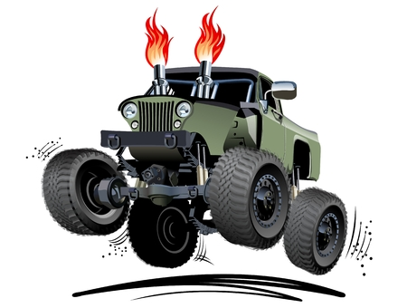 transportation cartoon: Cartoon Monster Truck. Available EPS-10 separated by groups and layers for easy edit