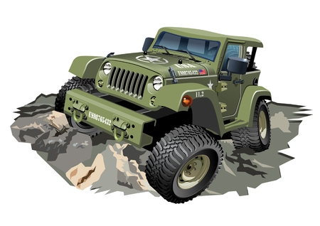 4x4: Vector Cartoon military 4x4 car. Available EPS-10 separated by groups and layers for easy edit Illustration