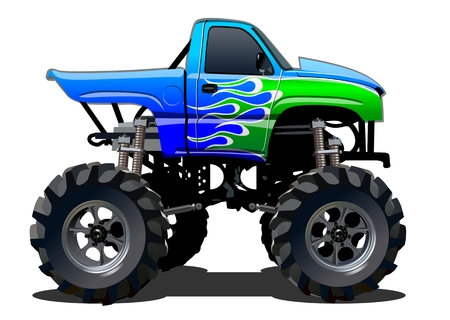 voiture de pompiers: Cartoon Monster Truck. EPS-10 disponibles séparées par des groupes et des couches avec des effets de transparence pour un seul clic repeindre