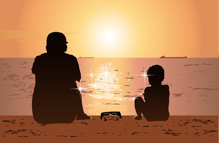 sund: Father and son sitting together on the beach and watching sunset. Available eps-10 vector format separated by groups and layers. Illustration