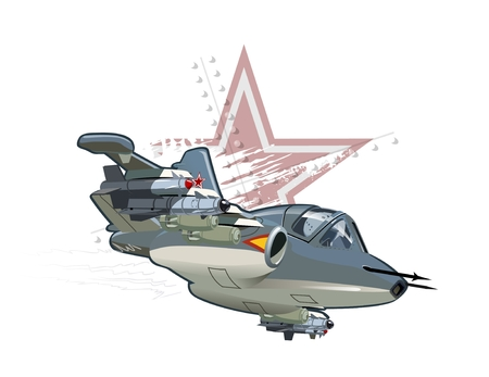 bombardment: Vector Cartoon Fighter Plane. Available EPS-10 vector format separated by groups and layers for easy edit Illustration