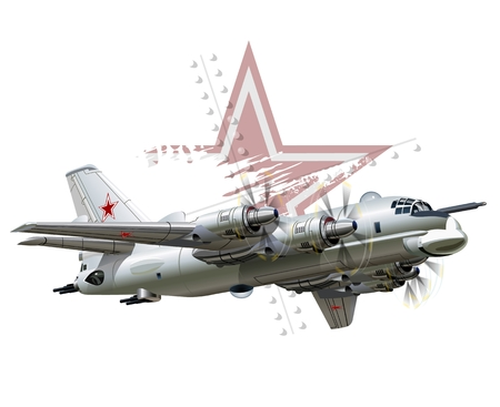 aircraft bomber: Vector Cartoon Bomber. Available EPS-10 vector format separated by groups and layers for easy edit