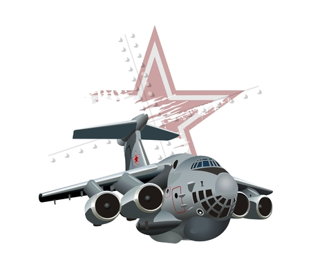 the air attack: Vector Cartoon Military Cargo plane. Available EPS-10 vector format separated by groups and layers for easy edit