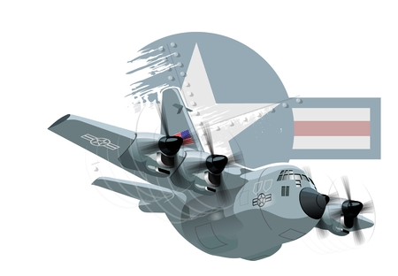 pilot cockpit: Vector Cartoon Military Cargo plane. Available EPS-10 vector format separated by groups and layers for easy edit