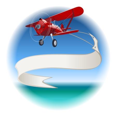 航空ショー: バナーとレトロな複葉機。使用可能なベクトル形式のグループおよび簡単な編集のための層で区切られました。  イラスト・ベクター素材