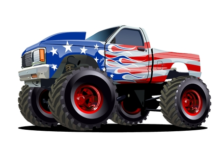 cartoon tractor: Cartoon Monster Truck. Available EPS-10 separated by groups and layers with transparency effects for one-click repaint
