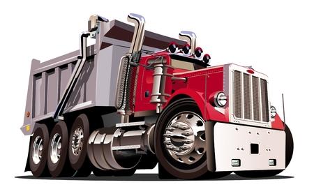 basurero: Vector de la historieta del camión volquete. EPS-10 disponibles formato vectorial separó por los grupos y las capas para facilitar la edición