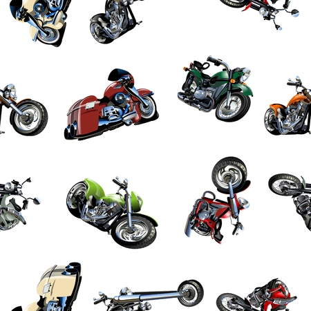 cartoon biker: Cartoon Motorcycle seamless pattern isolated on white background