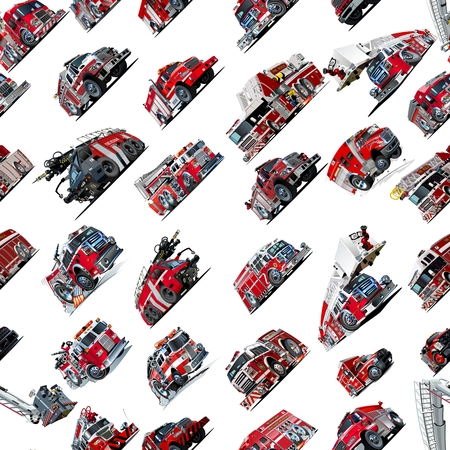 recue: Cartoon Fire Truck seamless pattern isolated on white background Stock Photo