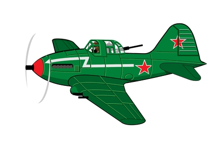 pilot  cockpit: Vector Cartoon Attack Plane. Available vector format separated by groups and layers for easy edit
