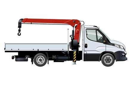 Camion-grue isolé sur blanc - disponible EPS-10 séparés par groupes et calques avec effets de transparence pour repeindre en un clic.