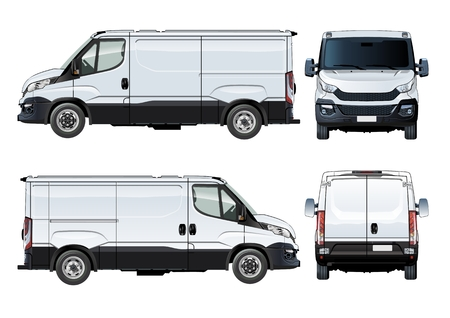 repaint: Vector van template isolated on white. Available EPS-10 separated by groups and layers with transparency effects for one-click repaint