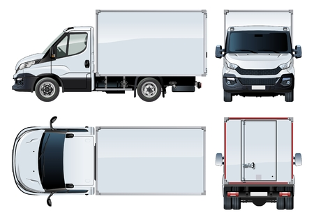 repaint: Vector truck template isolated on white. Available EPS-10 separated by groups and layers with transparency effects for one-click repaint