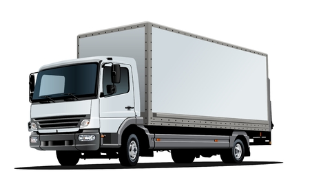 Artistic Vector truck template isolated on white. Available EPS-10 separated by groups and layers with transparency effects for one-click repaint  イラスト・ベクター素材