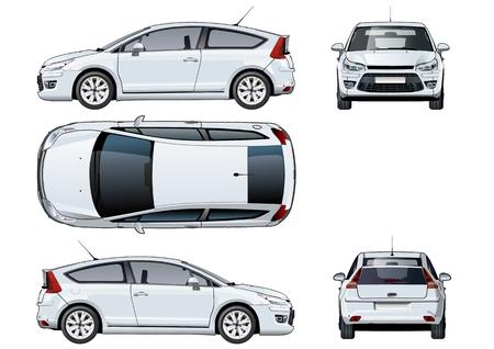 Künstlerische Vektor Auto Vorlage isoliert auf weiß. Verfügbares EPS-10-Vektorformat, getrennt durch Gruppen und Ebenen mit Transparenz-Effekten für One-Click-Repaint