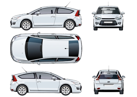 Artistic Vector car template isolated on white. Available EPS-10 vector format separated by groups and layers with transparency effects for one-click repaint Vettoriali