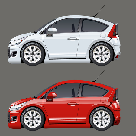 repaint: Vector cartoon cars isolated on gray. Available EPS-10 separated by groups and layers with transparency effects for one-click repaint