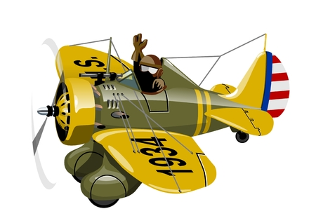 Cartoon Retro Fighter Plane. Available EPS-10 vector format separated by groups for easy edit