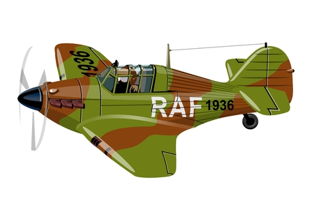 pilot  cockpit: Vector Cartoon Retro Fighter Plane. Available EPS-10 vector format separated by groups for easy edit