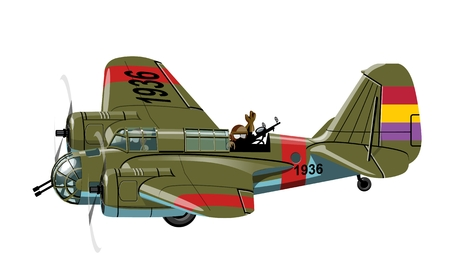 A Vector cartoon retro bomber plane. Available EPS-10 vector format separated by groups for easy edit
