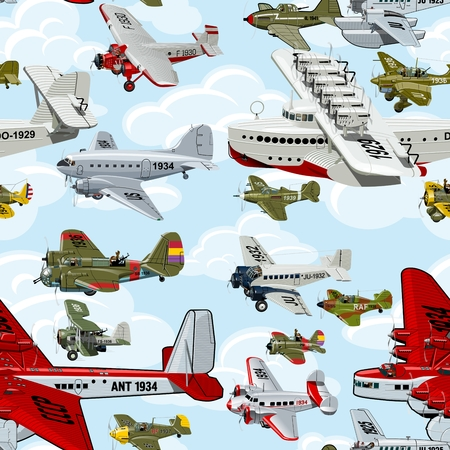 Cartoon retro airplanes 1930s seamless pattern on clouds background