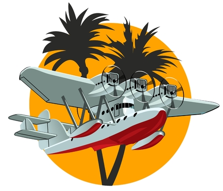 Vector Cartoon Retro Sea Plane. Available EPS-10 vector format separated by groups and layers for easy edit Çizim