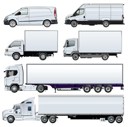 Szablony samochodów ciężarowych Vector dla tożsamości marki. Dostępny EPS-10 oddzielony grupami i warstwami z efektami przezroczystości dla jednokrotnego przemalowania.