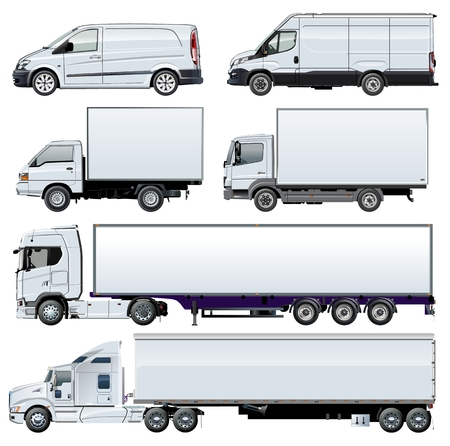 Vector trucks template for brand identity. Available EPS-10 separated by groups and layers with transparency effects for one-click repaint.