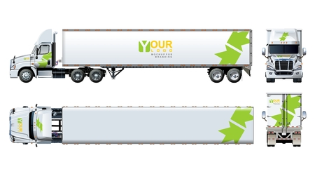 Vector truck template isolated on white. Available EPS-10 separated by groups and layers with transparency effects for one-click repaint and clipping mask for branding Stok Fotoğraf - 79461353