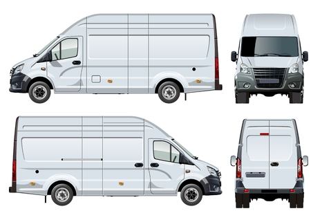 Vector van template isolated on white. Available EPS-10 separated by groups and layers with transparency effects for one-click repaint