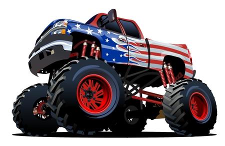 Cartoon Monster Truck. EPS-10 disponible séparé par des groupes et des couches avec des effets de transparence pour un repiquage à un clic