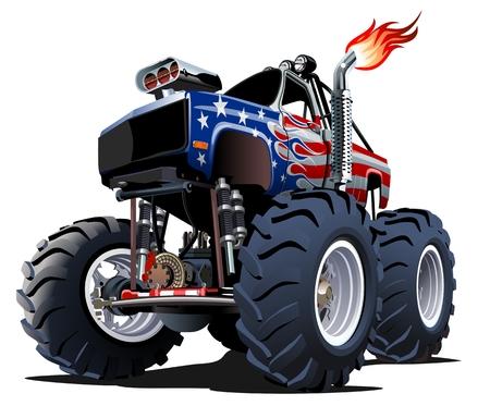 Monster Truck de dibujos animados. EPS-10 disponibles separadas por grupos y capas con efectos de transparencia para pintar de un solo clic