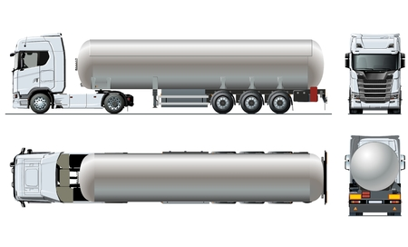 Vector realistic tunker truck template isolated on white. Stock Illustratie