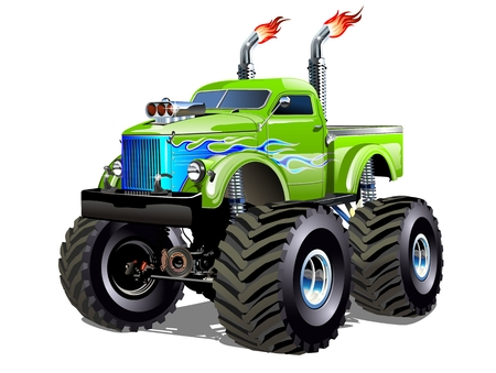 Cartoon Monster Truck. Available EPS-10 separated by groups and layers with transparency effects for one-click repaint Imagens - 81841145